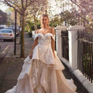 Blushing Bridal Boutique ,MillaNova, Magda with train, Blooming London, New Collection 2019,wedding gown-Mississauga-woodbridge-vaughan-toronto-gta-ontario-canada-montreal-buffalo-NYC-california
